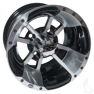 "ITP SS112 Silver & Black 10"", 12"" Aluminum Rims"