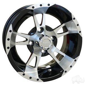"RHOX RX210 Machined Black 10"", 12"" Aluminum Rims"