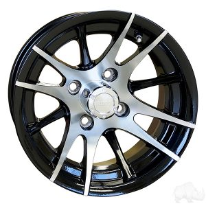 "RX101 12 Spoke Silver/Black 12"" Aluminum Rims"