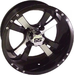 "Twister SS Silver/Black 10"", 12"", 14"" Aluminum Rims"