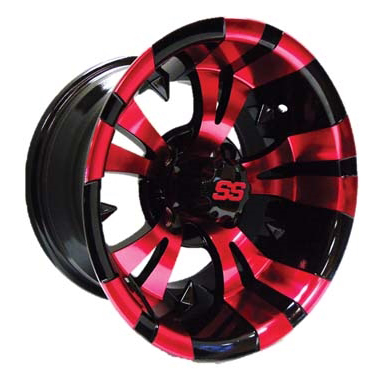 "Vampire Red/Black 12"", 14"" Aluminum Rims"