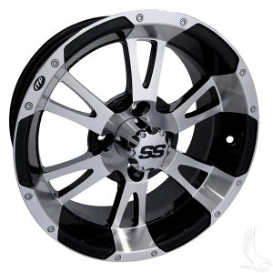 "Yellow Jacket SS112 Silver/Black 12"", 14"" Aluminum Rims"